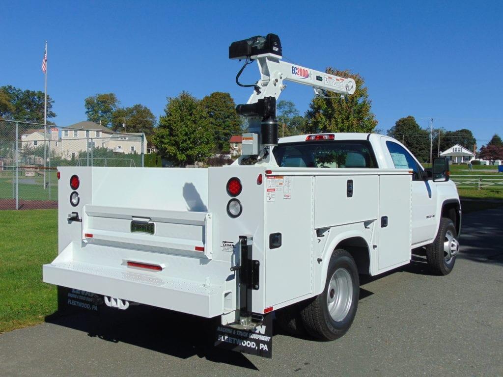 back of white crane truck