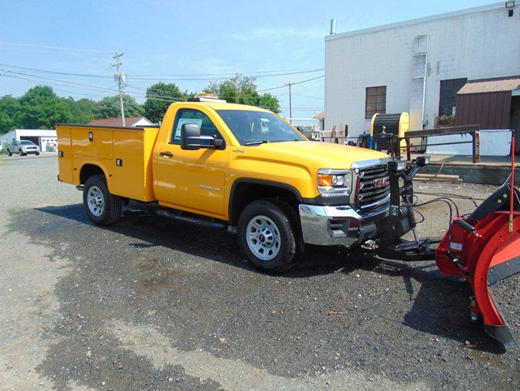 Yellow plow truck