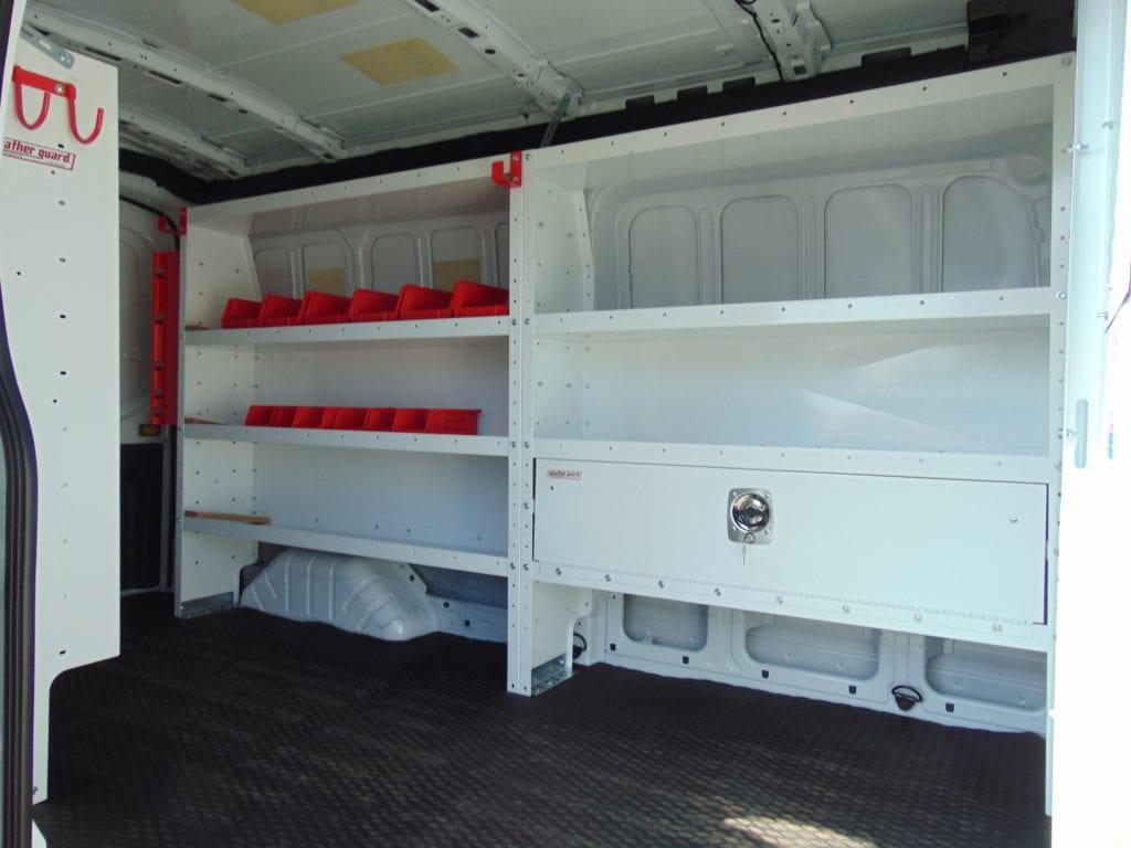 inside the back of a work van