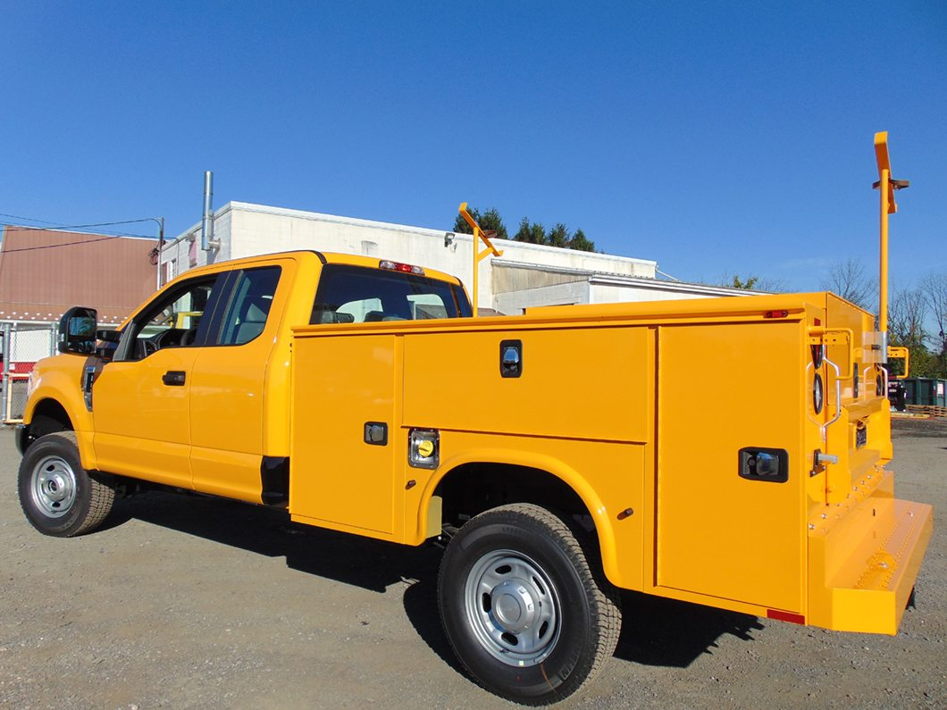 Yellow utility truck rear