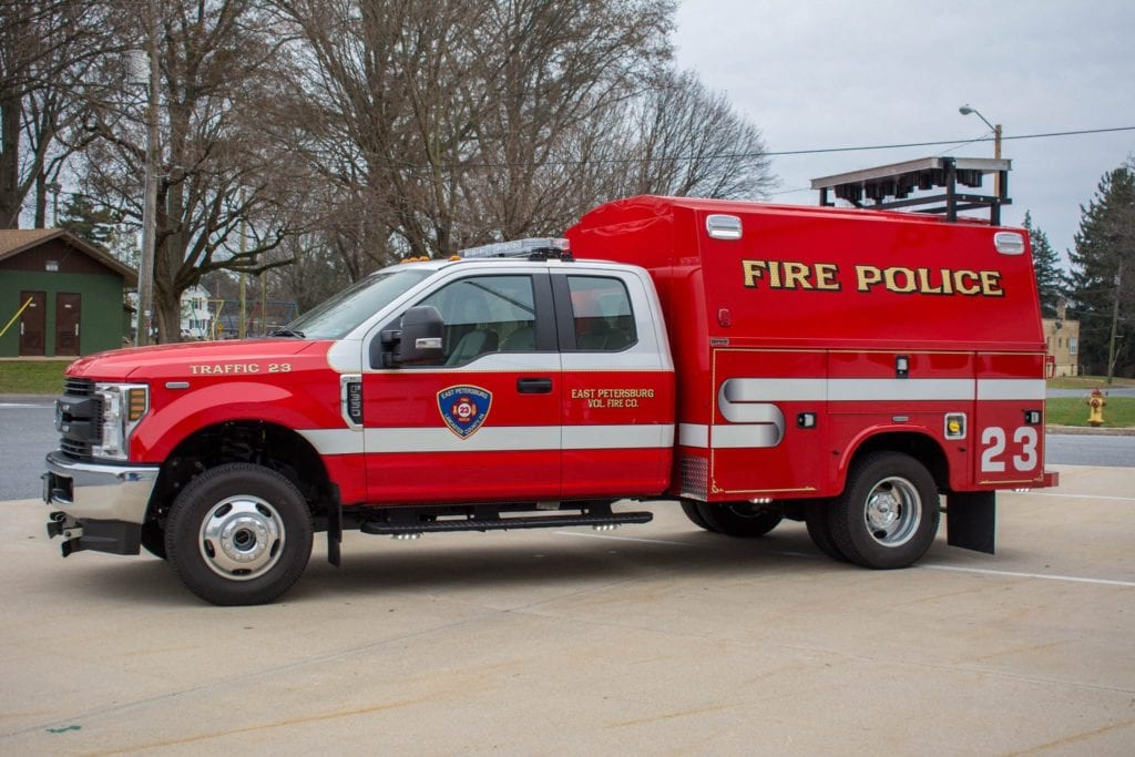 side of east petersburg volunteer fire company fire police truck