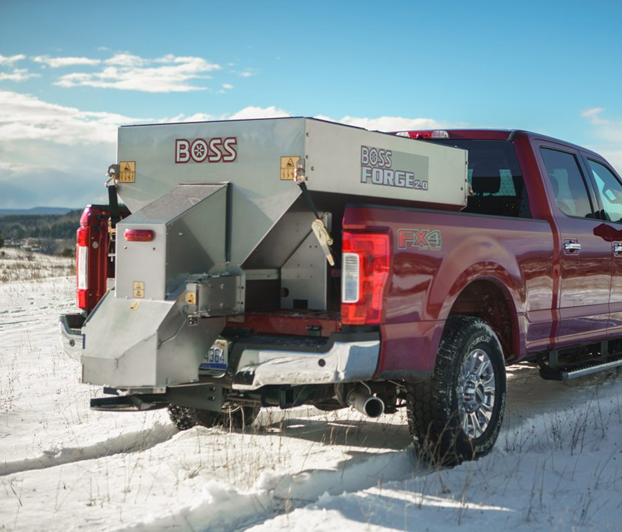Boss snow equipment on red truck