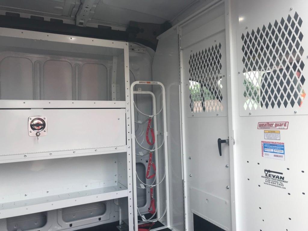 work van door and shelving