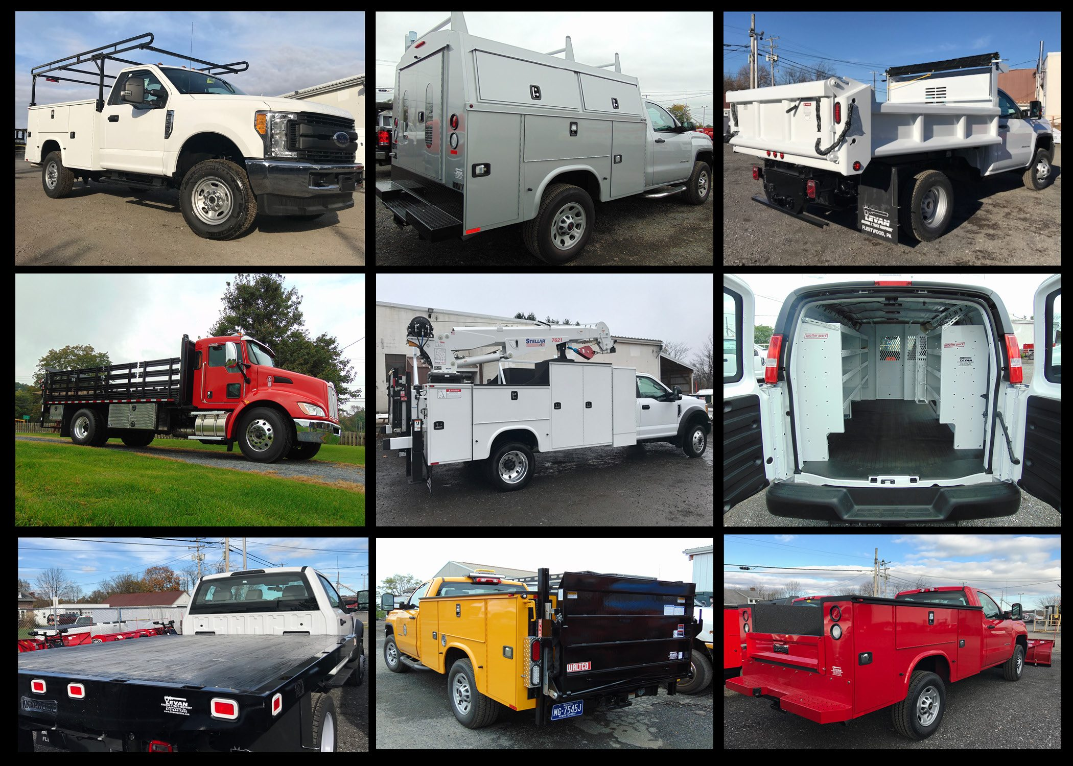 Collage of work trucks and dump trucks